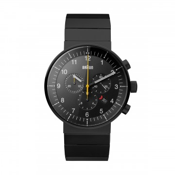 Prestige Chronograph Watch BN0095 Black/Black:   New technical solutions for improved functionality has always been an important part of the Braun design tradition....