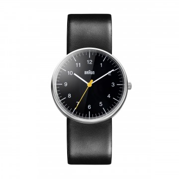 Classic Watch BN0021 Black/Black:  Iconic, instantly recognisable Braun timepiece. The minimalist dial face with yellow second hand, matte stainless...