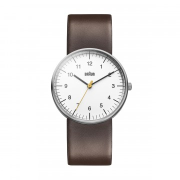 Classic Watch BN0021 Brown/White:  Iconic, instantly recognisable Braun timepiece. The minimalist dial face with yellow second hand, matte stainless...