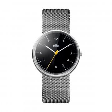 Classic BN0021 Mesh - Rannekello:  BN0021 on ikoninen ja tunnusomainen Braun-rannekello. Minimalistinen kellotaulu keltaisella sekuntiviisarilla,...