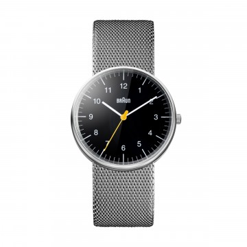 Classic Watch BN0021 Mesh:  Iconic, instantly recognisable Braun timepiece. The minimalist dial face with yellow second hand, matte stainless...