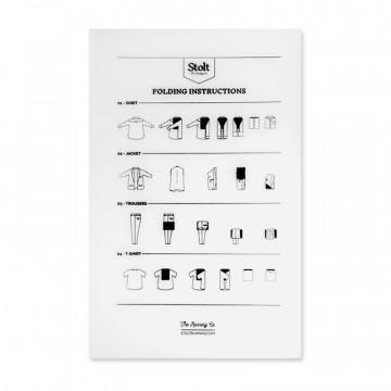 Folding Card - Viikkauskortti:  Viikkauskortissa on ohjeet jokaisen vaatekappaleen oikeaoppiseen viikkaukseen. Pehmeät reunat auttavat taittamaan...