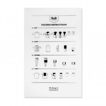 Folding Card:  This folding card features instructions for each garment. The softened edges help you to fold your garments neatly...