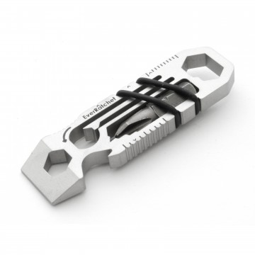 EverRatchet Stainless Steel Multitool:   Stainless steel wrench + multitool that fits your keyring.  
