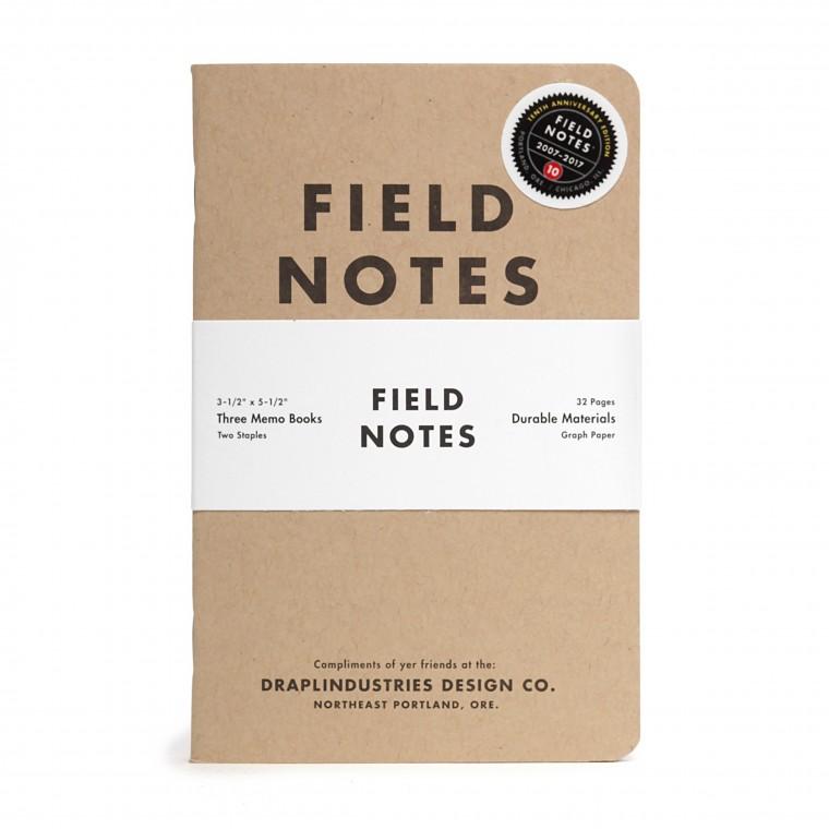 Field Notes Tenth Anniversary Edition 3-Pack - Muistivihko