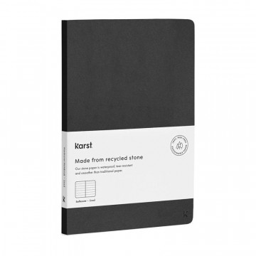 Softcover Notebook:   Premium softcover notebook made from stone paper.    The Karst Softcover Notebook is made of stone paper instead...
