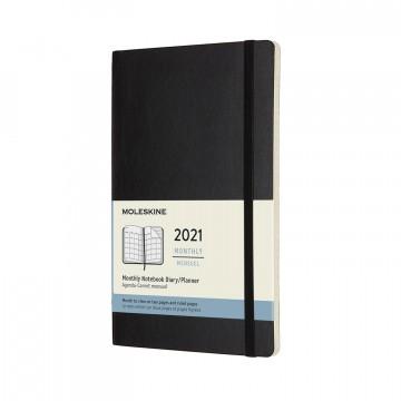 Monthly Notebook Large 2021 - Kalenteri:   Moleskinen kuukausikalenteri vuodelle 2021 tarjoaa koko kuukauden näkymän yhdellä aukeamalla. Kuukausinäkymän...