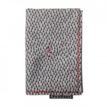 Dot Handkerchief:  The black and white Fox Hanx Dot handkerchief features a unique dot print and variegated red border stitch, made...