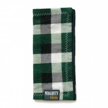 Mighty Mini Emerald Plaid:  The frontside of Mighty Mini Emerald Plaid has hunter green, white, and black plaid flannel. Dark blue microfiber on...