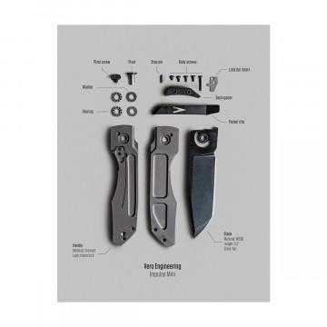 Vero Impulse Mini Poster:  This Vero Knife Poster poster brings you a flat-lay, disassembled view of the Vero Engineering Impulse Mini. It...