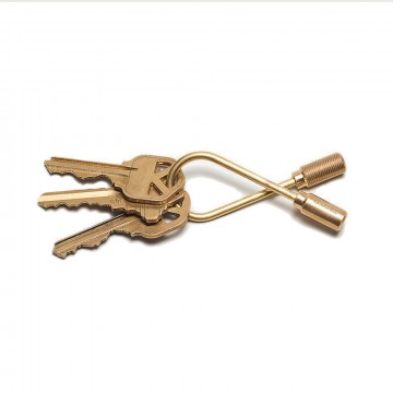 Closed Helix Brass Keyring:  A helix-shaped wire with turned end-caps. Simply unscrew the knurled side to add or remove keys.