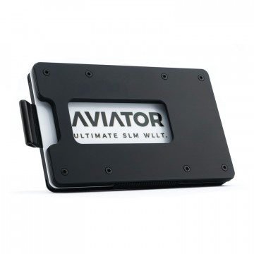 Aluminum Slide Wallet:  The Aviator Slide wallet features a pull strap for quick card access. It also comes with an acrylic Slim Coin Holder...