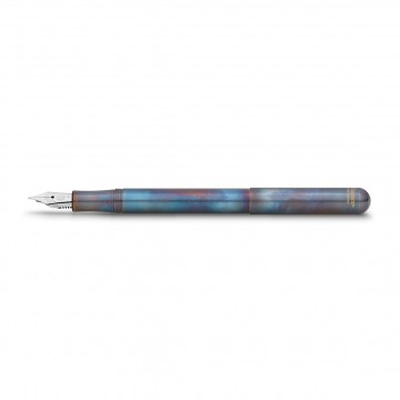 Liliput Fireblue Fountain Pen:  Each Fireblue pen is treated by hand. The different temperatures acting upon the stainless steel surface results in...