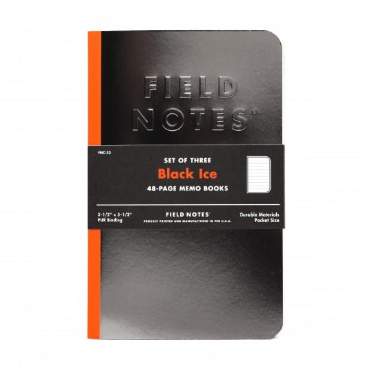 Black Ice 3-Pack - Anteckningsbok -  Field Notes visar sin passion för olika material, tryckfärger,...