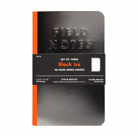 Black Ice 3-Pack Memo Book -  Field Notes love to explore materials, inks, printing processes and other...