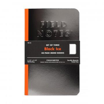 Black Ice 3-Pack - Muistivihko:  Field Notes kokeilee erikoispainoksissaan usein uusia materiaaleja, värejä ja tekniikoita. Black Ice -vihkossa...