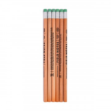No. 2 Woodgrain 6-Pack Pencils:  Set of 6 lacquer-free Field Notes pencils made from renewable wood. Recyclable aluminum ferrule, enviro-green...