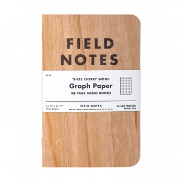 Cherry Graph 3-Pack Memo Book:  As we all know, paper is made from wood. Field Notes Cherry Graph memo books are made OF wood. The covers made from...