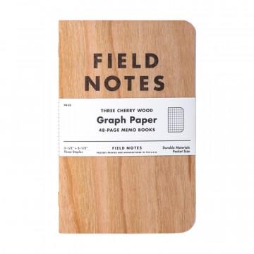 Cherry Graph 3-Pack - Muistivihko:  Kuten tiedämme, paperi valmistetaan puusta. Field NotesCherry Graph -muistivihkon kannet  ovat  puuta, oikeaa...