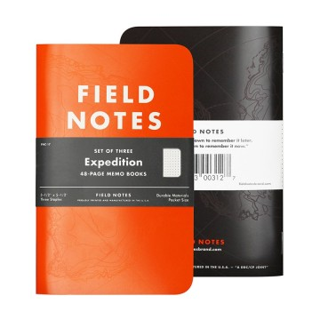 Expedition 3-Pack - Muistivihko:  Field Notes Expedition -muistivihkon voit ottaa huoletta mukaan kovemmillekkin reissuille. Vihkossa on oranssi,...