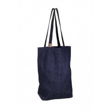 Denim Shopping Bag:  100% recycled denim shopping bag. Save environment and use this instead of regular plastic bag!